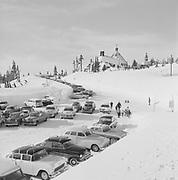 8609-R62-09 Timberline Lodge parking lot, Mt. Hood. January 1957