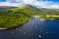 Aerial view of village of Balmaha and Conic Hill  on shores of Loch Lomond in Loch Lomond and The Trossachs National Park, Scotland, UK