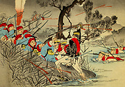 The Battle of Seonghwan [Here as Songhwan] was the first major land battle of the First Sino-Japanese War. It took place on 29 July 1894 at the hamlet of Seonghwan, outside of Cheonan, Chungcheongnam-do Korea between the forces of Meiji Japan and Qing China. It is also referred to as the Battle of Asan From the book 'Scenes from the Japan-China War' by Inouye, Jukichi, 1862-1929; Yamamoto, Eiki, illustrator. Published in Tokyo in 1895 with English Text. The First Sino-Japanese War (25 July 1894 – 17 April 1895) was a conflict between the Qing dynasty of China and the Empire of Japan primarily over influence in Joseon Korea. After more than six months of unbroken successes by Japanese land and naval forces and the loss of the port of Weihaiwei, the Qing government sued for peace in February 1895.