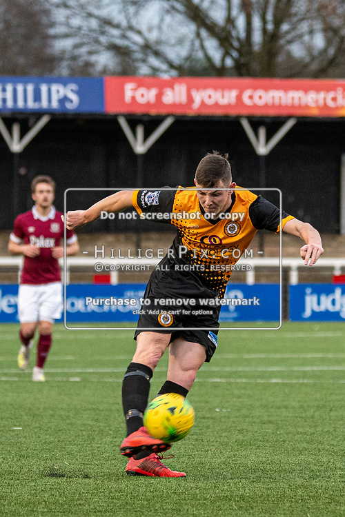 BROMLEY, UK - DECEMBER 07: Lee Lewis, of Cray Wanderers FC, fires a shot on goal during the BetVictor Isthmian Premier League match between Cray Wanderers and Potters Bar Town at Hayes Lane on December 7, 2019 in Bromley, UK. <br /> (Photo: Jon Hilliger)