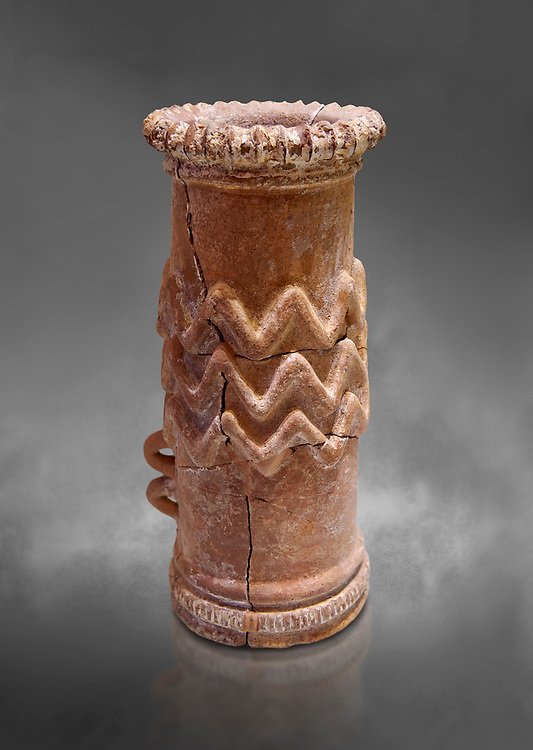 Minoan cylindrical cult vessel base used to support vessels full of offerings ,  1300-1100 BC,  Heraklion Archaeological  Museum, grey background .<br /> <br /> These cylindrical cult vessels were used until the Postpalatial period in the shrines of the godesses wth upraised arms .<br /> <br /> If you prefer to buy from our ALAMY PHOTO LIBRARY  Collection visit : https://www.alamy.com/portfolio/paul-williams-funkystock/minoan-art-artefacts.html . Type -   Heraklion   - into the LOWER SEARCH WITHIN GALLERY box. Refine search by adding background colour, place, museum etc<br /> <br /> Visit our MINOAN ART PHOTO COLLECTIONS for more photos to download  as wall art prints https://funkystock.photoshelter.com/gallery-collection/Ancient-Minoans-Art-Artefacts-Antiquities-Historic-Places-Pictures-Images-of/C0000ricT2SU_M9w
