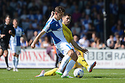Pat Hoban attempts to tackle Tom Lockyer during the Sky Bet League 2 match between Bristol Rovers and Oxford United at the Memorial Stadium, Bristol, England on 6 September 2015. Photo by Alan Franklin.