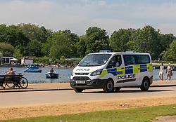 Licensed to London News Pictures. 02/06/2021. London, UK. Police step up patrols in Hyde Park, London this morning on what is expected to be the hottest day the year so far after a man was attacked last night with huge foot long knives and swords in front of people enjoying the balmy evening. The Met Office have forecast very warm weather for the South East and London this week with temperatures predicted to hit up to 28c today. Photo credit: Alex Lentati/LNP