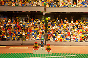 London, UK. Thursday 9th August 2012. Mmodel made from Lego and Lego figures of the London 2012 Olympic Games stadium at John Lewis department store in Stratford.