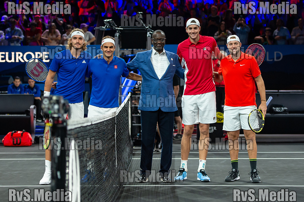 GENEVA, SWITZERLAND - SEPTEMBER 22: Stefanos Tsitsipas of Team Europe, Roger Federer of Team Europe and John Isner of Team World, Jack Sock of Team World poses for photo during Day 3 of the Laver Cup 2019 at Palexpo on September 22, 2019 in Geneva, Switzerland. The Laver Cup will see six players from the rest of the World competing against their counterparts from Europe. Team World is captained by John McEnroe and Team Europe is captained by Bjorn Borg. The tournament runs from September 20-22. (Photo by Monika Majer/RvS.Media)