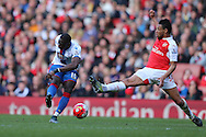 Yannick Bolasie of Crystal Palace shoots and scores his sides 1st goal to make it 1-1. Barclays Premier league match, Arsenal v Crystal Palace at the Emirates Stadium in London on Sunday 17th April 2016.<br /> pic by John Patrick Fletcher, Andrew Orchard sports photography.