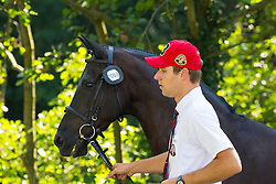 Edouard Simonet, (BEL), Dark Dream, Maximus, Topspeed Bauke, Topspeed Sanne, YK Topspeed Long Beach - Horse Inspection Driving - Alltech FEI World Equestrian Games™ 2014 - Normandy, France.<br /> © Hippo Foto Team - Leanjo de Koster<br /> 25/06/14