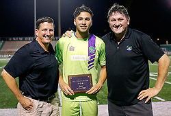 12 July 2016. New Orleans, Louisiana.<br /> NPSL Soccer, Pan American Stadium.<br /> Award ceremony following the New Orleans Jesters v UANL Tigres from Monterrey, Mexico game. <br /> Jesters draw 1-1 at full time, going on to lose the penalty shoot out.<br /> Photo; Charlie Varley/varleypix.com