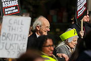 February 22, 2020, London, England, United Kingdom: Richard Assange, father (left) of Julian alongside British fashion designer Vivienne Westwood, (right), attends a protest in central London against the extradition of Wikileaks founder Julian Assange, in London, Saturday, Feb. 22, 2020. (Credit Image: © Vedat Xhymshiti/ZUMA Wire)