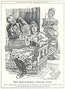 Entente Cordiale (1904), Anglo-French agreement which ended a number of mutual antagonisms and brought about co-operation against the threat of German agression during the early part of the 20th century.  The First Moroccan Crisis or the Tangier Incident.  Germany looks on in disapproval  as France and Britain approach an engagement. Cartoon by Bernard Partridge from 'Punch', London, 12 April 1905.