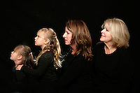 13 November 2010:  Carrie Berg, Stephanie Zlaket, Janice Zlaket, Lucy Berg and Casey Berg.  Generation of women in family. Indoor portrait session. Personal Use Only.