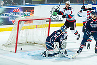KELOWNA, BC - FEBRUARY 12: Talyn Boyko #31 of the Tri-City Americans misses a save and allows the first goal for Tyson Feist #25 of the Kelowna Rockets during third period at Prospera Place on February 8, 2020 in Kelowna, Canada. (Photo by Marissa Baecker/Shoot the Breeze)