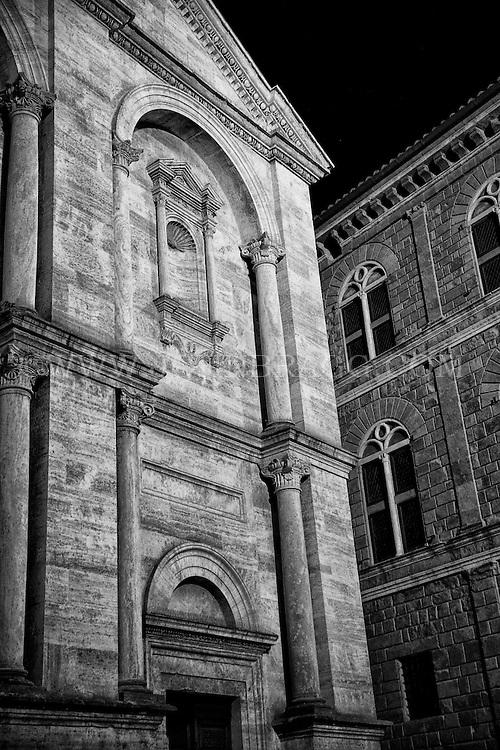 Black and white image of the Duomo di Pienza in Pienza, Italy.