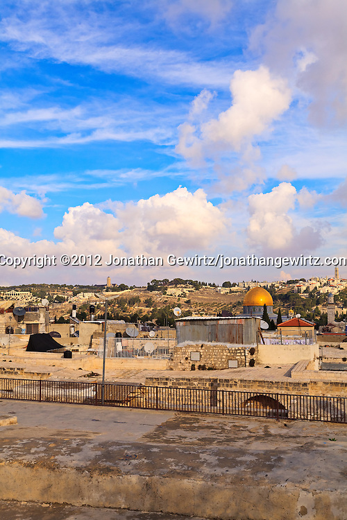 Rooftops in Old City of Jerusalem's Jewish Quarter, looking toward the Temple Mount and Dome of the Rock with the Mount of Olives and Augusta Victoria in the background. WATERMARKS WILL NOT APPEAR ON PRINTS OR LICENSED IMAGES.