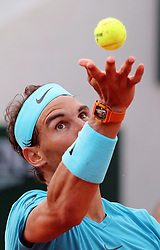 May 31, 2018 - Paris, France - RAFAEL NADAL of Spain serves to opponent Guido Pella of Argentina during their second-round match of the French Tennis Open 2018 at Roland Garros. Nadal won 6-2, 6-1, 6-1. (Credit Image: © Maya Vidon-White via ZUMA Wire)