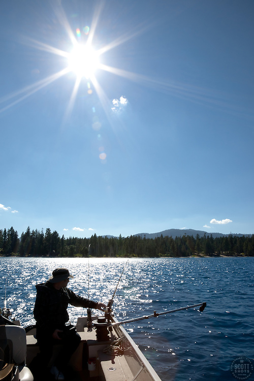 """""""Fishing on Lake Tahoe 2"""" - This man was photographed fishing for Mackinaw near the West shore of Lake Tahoe, California."""