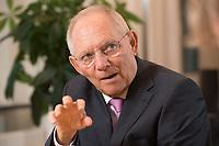 17 DEC 2014, BERLIN/GERMANY:<br /> Wolfgang Schaeuble, CDU, Bundesfinanzminister, waehrend einem Interview, in seinem Buero, Bundesministerium der Finanzen<br /> IMAGE: 20141217-01-008<br /> KEYWORDS: Wolfgang Schäuble