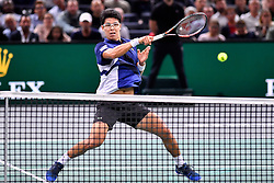 PARIS, Nov. 2, 2017  Chung Hyeon of South Korea returns the ball to Rafael Nadal of Spain during the second round match at the ATP World Tour Masters 1000 Indoor tennis tournament in Paris, France, Nov. 1, 2017. Chung Hyeon lost 0-2. (Credit Image: © Chen Yichen/Xinhua via ZUMA Wire)
