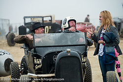 Max Hermann staging at the start in his model-T with his friend Joe Teague at TROG West - The Race of Gentlemen. Pismo Beach, CA, USA. Saturday October 15, 2016. Photography ©2016 Michael Lichter.