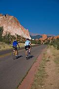 Road bikers hit the cycling loop in Garden of the Gods, Colorado Springs, Colorado