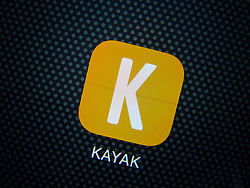 Kayak hotel booking app on iPhone 6 Plus smart phone