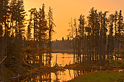 Sunrise across from Spray Lake<br />