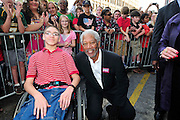 """Description/Caption:<br /> Oscar winning actor and Mississippi native Morgan Freeman receives a """"star"""" on the Meridian walk of fame outside the Riley Center for Performing Art Thursday April 5, 2011. Morgan was introduced by his best friend and business partner Bill Luckett who is campaigning for Governor of Mississippi.Photo©Suzi Altman"""