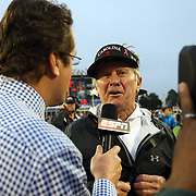 South Carolina Head Coach Steve Spurrier is interviewed after the NCAA Capital One Bowl football game between the South Carolina Gamecocks who represent the SEC and the Wisconsin Badgers who represent the Big 10 Conference, at the Florida Citrus Bowl on Wednesday, January 1, 2014 in Orlando, Florida. (AP Photo/Alex Menendez)