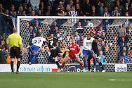 Nathan Cameron of Bury (27) heads the ball to scores his teams 1st goal. Skybet football league one match , Bury v Wigan Athletic at the JD Stadium in Bury, Lancs on Saturday 10th October 2015.<br /> pic by Chris Stading, Andrew Orchard sports photography.
