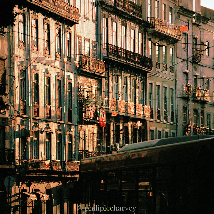 Facades of old buildings in central Lisbon, Portugal