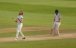 Essex's Sam Cook celebrates bowling out Yorkshire's Gary Ballance an LBW during day three of the Specsavers County Championship, Division One match at the Cloudfm County Ground, Chelmsford. PRESS ASSOCIATION Photo. Picture date: Wednesday September 27, 2017. See PA story CRICKET Essex. Photo credit should read: Steven Paston/PA Wire. RESTRICTIONS: Editorial use only. No commercial use without prior written consent of the ECB. Still image use only. No moving images to emulate broadcast. No removing or obscuring of sponsor logos.