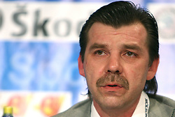 Head coach of Latvija Olegs Znaroks at press conference after ice-hockey match USA vs Latvia at IIHF WC 2008 in Halifax,  on May 02, 2008 in Metro Center, Halifax, Canada. USA won 4:0. (Photo by Vid Ponikvar / Sportal Images)