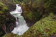 Spring runoff at Upper Little Qualicum Falls at Little Qualicum Falls Provincial Park in the Nanaimo Regional District, British Columbia, Canada