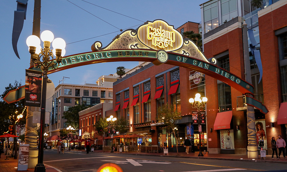 View of 5th Avenue in the Gaslamp Quarter in Downtown San Diego on Thursday, November 19, 2020.  California Governor Gavin Newsom has imposed a curfew on several counties due to an explosion in COVID-19 infection rates(Photo by Sandy Huffaker)