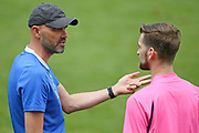 Hawke's Bay United head coach Chris Greatholder argues with assistant referee Trent Pedley in the Handa Premiership football match, Hawke's Bay United v Waitakere United, Bluewater Stadium, Napier, Sunday, December 20, 2020. Copyright photo: Kerry Marshall / www.photosport.nz