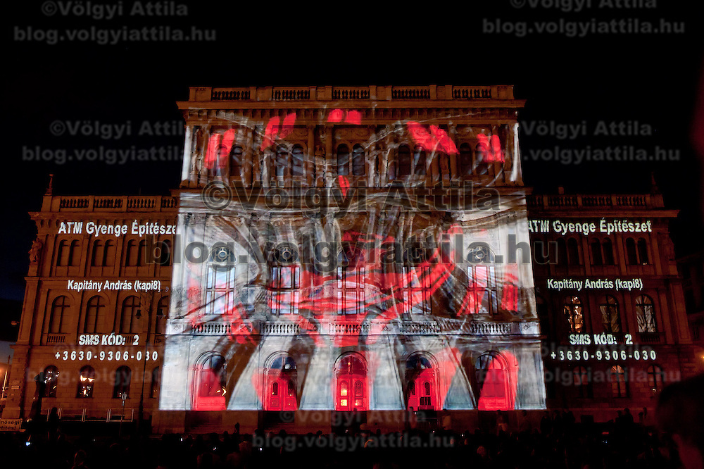 Light Painting show displayed on the front of the Hungarian Science Academy building during the Hungarian rotational EU presidency closing celebrations in Budapest, Hungary on June 26, 2011. ATTILA VOLGYI