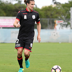BRISBANE, AUSTRALIA - DECEMBER 10: Michael Marrone of Adelaide United dribbles the ball during the round 5 Foxtel National Youth League match between the Brisbane Roar and Adelaide United at AJ Kelly Field on December 10, 2016 in Brisbane, Australia. (Photo by Patrick Kearney/Brisbane Roar)