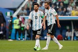 June 26, 2018 - Saint Petersburg, Russia - Lionel Messi (L) and Gonzalo Higuain of Argentina national team during the 2018 FIFA World Cup Russia group D match between Nigeria and Argentina on June 26, 2018 at Saint Petersburg Stadium in Saint Petersburg, Russia. (Credit Image: © Mike Kireev/NurPhoto via ZUMA Press)