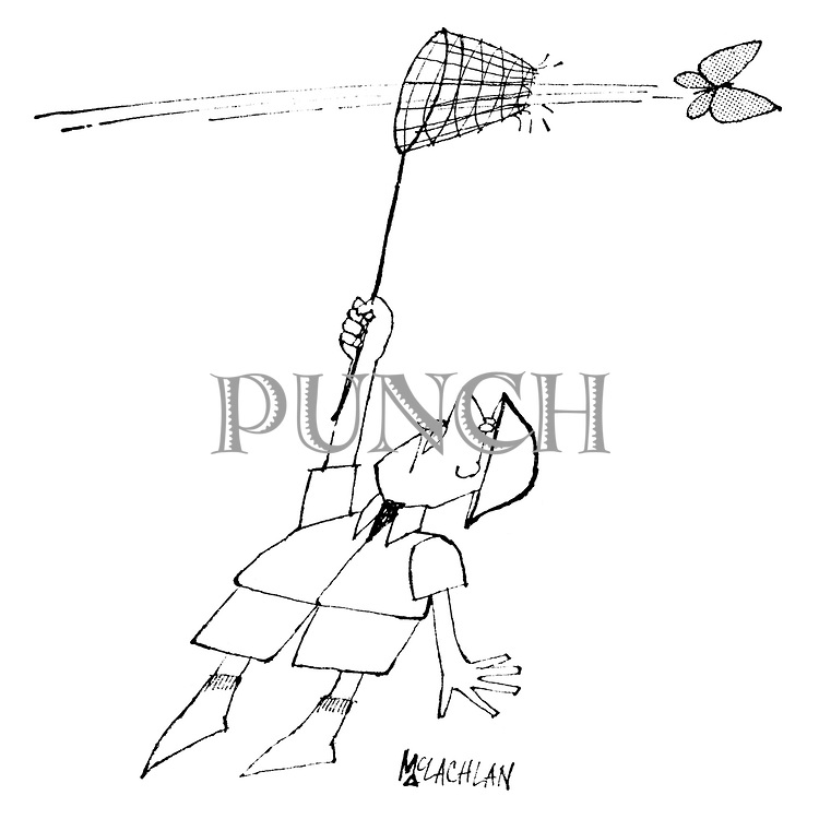 (An entomologist tries catching a butterfly, but it flies straight through his net!)