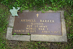 26 August 2017:   A part of the History of McLean County Illinois.<br /> <br /> Tombstones in Evergreen Memorial Cemetery.  Civic leaders, soldiers, and other prominent people are featured.<br /> <br /> Section 16 - Veterans Section<br /> Arshell Barker<br /> Illinois<br /> Private US Army<br /> March 26, 1893<br /> April 3, 1972