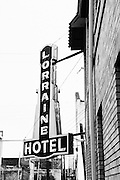 Lorraine Hotel sign in Memphis, Tennessee where Martin Luther king was assassinated.