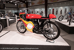 1967 Bridgestone 350 GTR Road Racer from the Jill and John Parham Collection at the National Motorcycle Museum on view in the What's the Skinny Exhibition (2019 iteration of the Motorcycles as Art annual series) at the Sturgis Buffalo Chip during the Sturgis Black Hills Motorcycle Rally. SD, USA. Thursday, August 8, 2019. Photography ©2019 Michael Lichter.