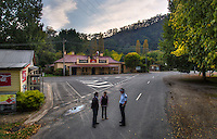 Mitta Mitta, one policeman town. Following the working life of Leading Senior Constable John Kissane. Kissane at right with Collin McGrath and Fleur Hutchinson of the Mitta Mitta Store. Pic By Craig Sillitoe CSZ/The Sunday Age.27/03/2012 This photograph can be used for non commercial uses with attribution. Credit: Craig Sillitoe Photography / http://www.csillitoe.com<br /> <br /> It is protected under the Creative Commons Attribution-NonCommercial-ShareAlike 4.0 International License. To view a copy of this license, visit http://creativecommons.org/licenses/by-nc-sa/4.0/.