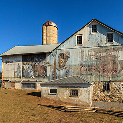 Elizabethtown, PA / USA - January 20, 2013:  A Lancaster County PA painted barn near Elizabethtown was used as an art canvas for a Harvestime theme in the early 1900's.