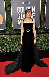 Dakota Johnson at the 75th Golden Globe Awards held at the Beverly Hilton in Beverly Hills, CA on January 7, 2018.<br /><br />(Photo by Sthanlee Mirador)