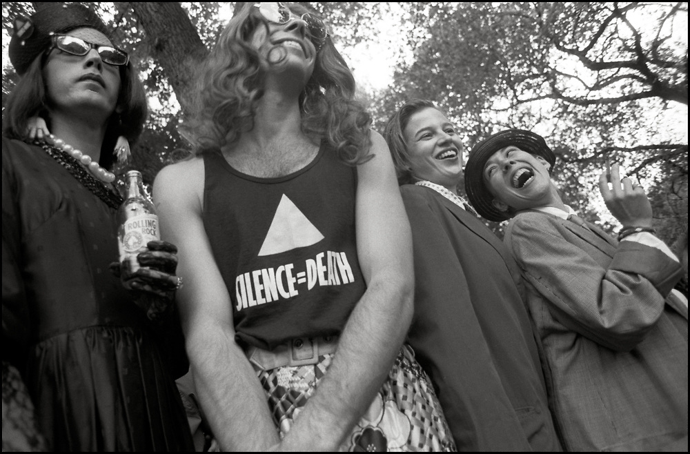 David Gips, David Robinson, Heidi Dorow and Maria Maggenti at Wigstock, an annual outdoor drag festival that began in the 1980s in Tompkins Square Park in the East Village of New York City that took place on Labor Day in 1989.