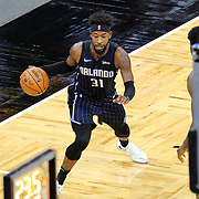 ORLANDO, FL - MARCH 03: Terrence Ross #31 of the Orlando Magic controls the ball against the Atlanta Hawks during the first half at Amway Center on March 3, 2021 in Orlando, Florida. NOTE TO USER: User expressly acknowledges and agrees that, by downloading and or using this photograph, User is consenting to the terms and conditions of the Getty Images License Agreement. (Photo by Alex Menendez/Getty Images)*** Local Caption *** Terrence Ross