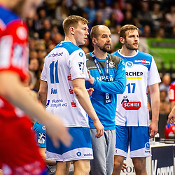 Juergen Schweikardt (TVB Stuttgart #C1) ; Adam Loenn (TVB Stuttgart #11)  beim Spiel in der Handball Bundesliga, TVB 1898 Stuttgart - HBW Balingen-Weilstetten.<br /> <br /> Foto © PIX-Sportfotos *** Foto ist honorarpflichtig! *** Auf Anfrage in hoeherer Qualitaet/Aufloesung. Belegexemplar erbeten. Veroeffentlichung ausschliesslich fuer journalistisch-publizistische Zwecke. For editorial use only.