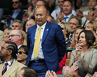 Tennis - 2019 Wimbledon Championships - Week One, Saturday (Day Six)<br /> <br /> Mens Singles, 3rd Round <br /> Sports Men and Women in the Royal Box on Centre Court<br /> <br /> England Rugby Union head coach Eddie Jones<br /> <br /> COLORSPORT/ANDREW COWIE