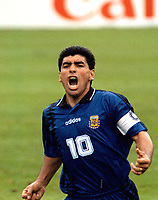 1994 - FOOTBAL WORLD CUP USA'94 - DIEGO MARADONA The Argentine player DIEGO MARADONA celebrating his HISTORICAL GOAL vs. GREECE.<br /> This was the last goal of MARADONA for the Argentine National team.<br /> Foto: Digitalsport/Argenpress<br /> NORWAY ONLY